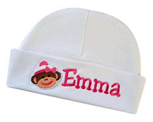 Funny Girl Designs Embroidered Baby Boy Or Girl Personalized Keepsake Custom Infant Hat with Sock Monkey (Girl Monkey) ()