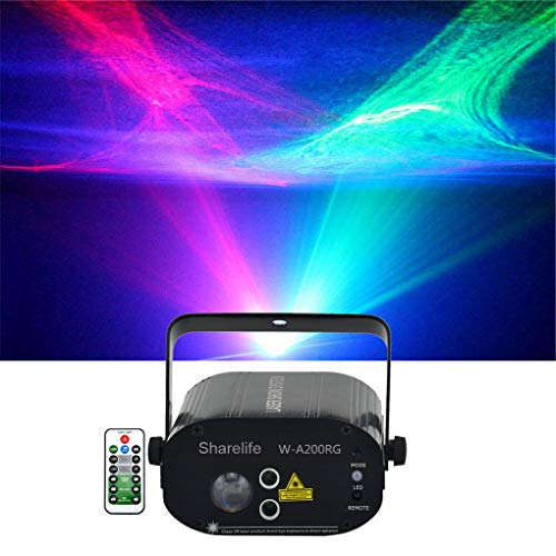 Sharelife Mini Red Green Hypnotic Aurora Laser Effect Mixed Red Green Blue Watermark LED Background Projector Light Remote Music Auto for DJ Party Show Home Gig Xmas Stage Lighting W-A200RG