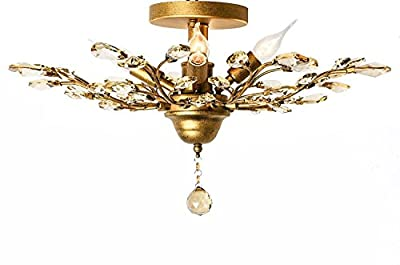 Garwarm One Lights Vintage Crystal Chandeliers Ceiling Lights Crystal Pendant Lighting Ceiling Light Fixtures Chandeliers Lighting for Living Room Bedroom Restaurant Porch Chandelier(Champagne)