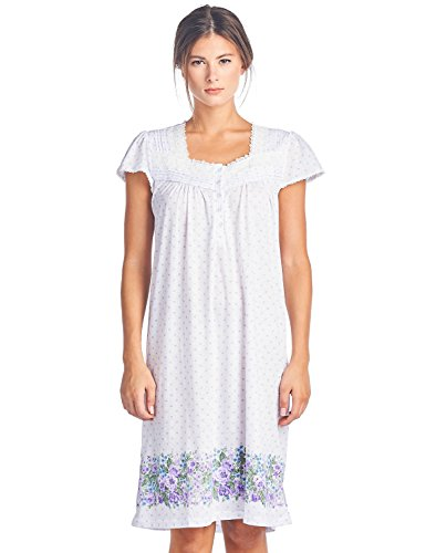 Casual Nights Women's Cap Sleeves Floral Lace Nightgown - Purple Dots - Large