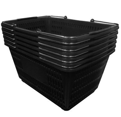 Shopping Basket (Set of 6) Durable Black Plastic with Metal Handles