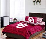 Oklahoma Sooners NCAA Full Comforter & Sheet Set (5 Piece Bed In A Bag)