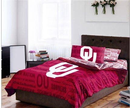 Oklahoma Sooners NCAA Full Comforter & Sheet Set (5 Piece Bed In A Bag) by NCAA