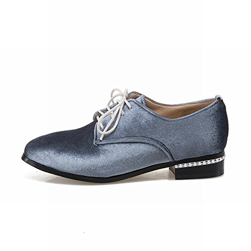 Charm Foot Womens Fashion Low Heel Lace Up Oxfords Shoes Grey Blue Jc6jkm9