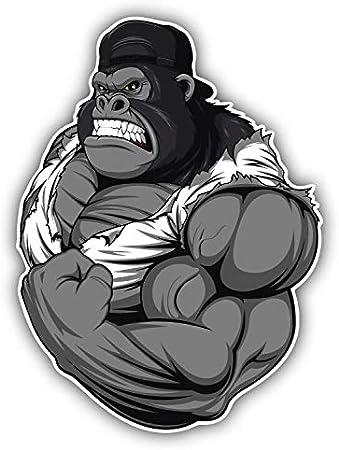 Muscular Gorilla Mascot Car Bumper Sticker Decal 4/'/' x 5/'/'