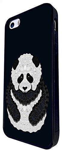 337 - Pattern Panda Cute Design iphone SE - 2016 Coque Fashion Trend Case Coque Protection Cover plastique et métal - Noir