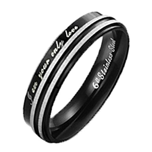 """Women's Wedding Rings Stainless Steel """"I Am Your Only Love"""" Black 2 White Lines Width 4MM Size 6"""