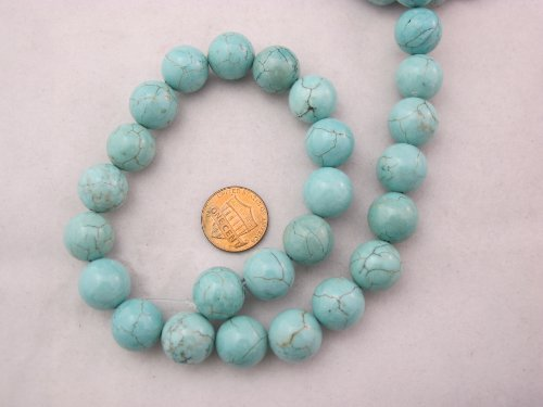 - Magnesite Turqoise Dyed Blue Round Beads 14mm 27pcs 16'' Per Strand