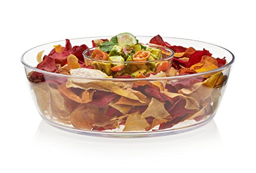 Libbey Indoors Out Serving Bowl Entertainment Set, Break-Resistant Premium Plastic, 2-Piece, includes (1) 4.75-inch Dip Bowl and (1) 11-inch Chip (Holiday Dip Bowl)