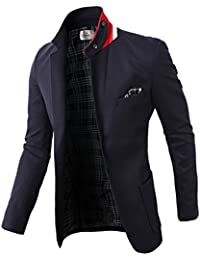 Mens Casual Slim Fit Mandarin Collar Single Breasted Jacket