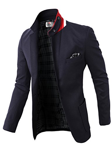 (H2H Men's Slim Fit 3 Piece Suit One Button Blazer Navy US S/Asia M (KMOBL01))