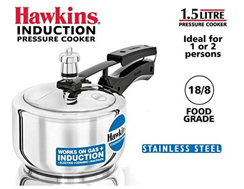 (Hawkins HSS15 Stainless Steel Pressure Cooker, 1.5 Liter, Silver)