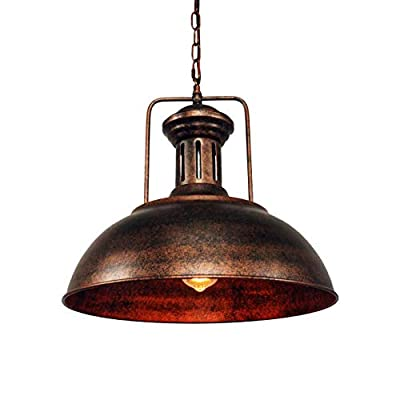 Lmans Vintage Industrial Nautical Barn Pendant Light Single Pendant Lamp with Rustic Dome/Bowl Shape Mounted Fixture Ceiling Light Chandelier in Copper 1-Light with Chain (Style A)