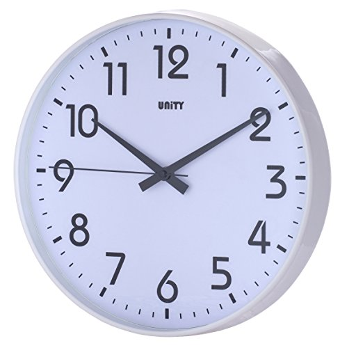 Unity Fradley Silent Sweep Non-Ticking Modern Wall Clock, 12-Inch, White ()
