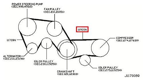 amazon com: infiniti genuine compressor power steering alternator fan belt  11920-ag900 qx4 m35/45 g35/37/25 sedan g35 fx45/35: automotive