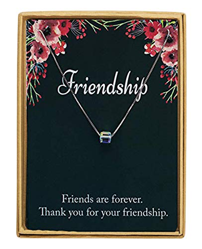 Monily Friendship Gift 925 Sterling Silver Square Swarovski Crystal Pendant Necklace Gift for Friends Sisters Women Fine ()