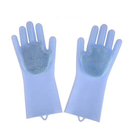 Magic Heat Resistant Gloves,Reusable Silicone Gloves Scrubber Cleaning Brush Gloves,For Dish Wash Cleaning Pet Hair Care (Blue)
