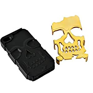 SHOUJIKE 3D Silicone and Metal Fashion Cool Skulls Back Case Cover for iPhone 6 Plus(Assorted Colors) , Black