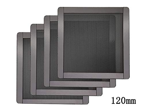 (120mm PC Computer Case Fan Magnetic Frame Dust Filter Screen Dustproof Case Cover, Ultra Fine PVC Mesh, Black Color - 4 Pack)