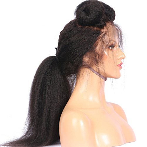 BEEOS Italian Yaki Lace Front Human Hair Wigs with Baby Hair for Black Women Brazilian Kinky Straight Human Hair Wigs with Bleached Knots,18inch by BEEOS