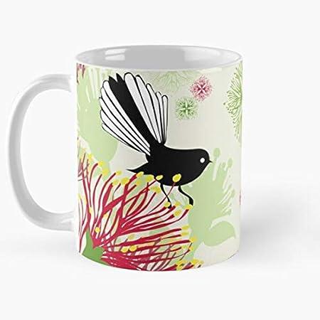 Nueva Pohutukawa Fantail Navidad pájaro recuerdo Navidad zeland Tui mejor taza de café de cerámica personalizada