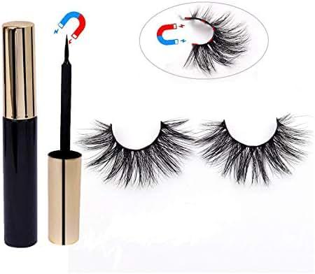 3D Mink Magnetic Eyelashes with Magnetic Eyeliner kit,No Glue False Eyelashes for Natural Look 5 Magnets False Eyelashes with Magnetic Eyeliner (D22)-Buy 1 Get 1 Free!
