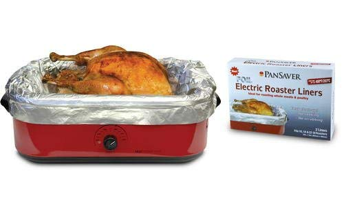 Pansaver Foil Electric Roaster Liners, 3 Box Bundle (6 Liners for Roasters). Fits 16, 18 and 22 Quart Roasters. Best Liners for Roasting Whole Meats. (Roaster Oven Insert)