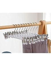 Metal Skirt Hangers Heavy Duty Pants Hangers,Pants Clip Hangers with Non-Slip Adjustable Clips Trouser Clip Hangers(10 Pack) -Blue 31x12cm(12x5inch)