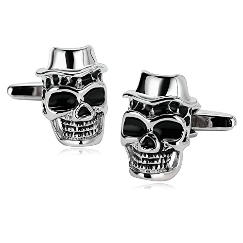 Aooaz Cufflinks for Men Stainless Steel Big Mouth Skull Top Hat Silver Black Punk 1.2X2CM Silver (Sterling Silver Button Covers)