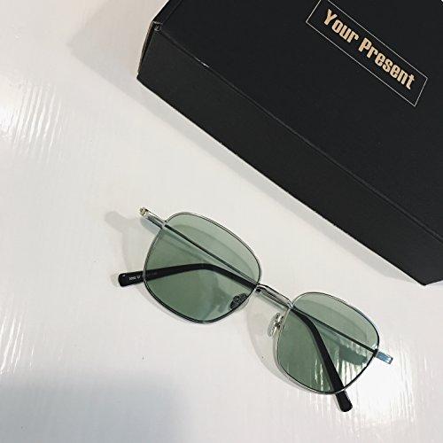 Gafas Color Película Cuadrado de Gafas Hombre Sol Marinas Transparente Sol film Green Verde Gafas Espejo plano de VVIIYJ ngF0qwfxx
