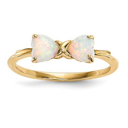 (14k Yellow Gold Created Opal Bow Band Ring Size 7.00 Set Birthstone October Fine Jewelry Gifts For Women For Her)