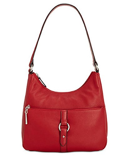 Giani Bernini Womens Leather O-ring Hobo Handbag Red Medium (Belted Handbag Hobo)