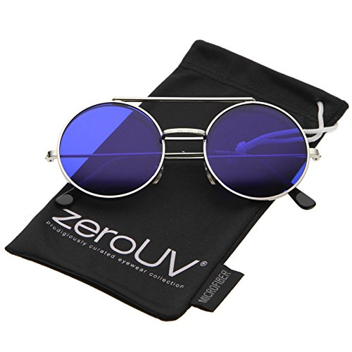 zeroUV - Mid Size Flip-Up Colored Lens Round Django Sunglasses 49mm (Silver / - Round Flip Sunglasses Up