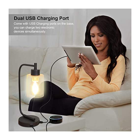 Innqoo Touch Control Table Lamp, 3 Way Dimmable Industrial Desk Lamp with USB Charging Ports, Modern Nightstand Lamp, Metal Bedside Lamp for Dorm, Bedroom, Living Room (ST64 Vintage Bulb Included) - 🎁【3 Way Dimmable Touch Control Design】- Touch bedside lamp with 4 settings (Low, Medium, High, Off), The Low setting is perfect for nightstand mode, the Medium setting suitable for daily use and High setting is very bright for reading mode. This touch-sensitive lamp can be easily controlled over by people of all ages.(We suggest you use the vintage T45 Bulb, it is the best match to our touch table lamp) 🎁【Dual Usb Charging Ports】- The Industrial desk lamp is convenient for phones, power banks or other devices charging with dual USB charging ports, reducing the use of socket plug as well greatly promote the use of space.(It is a perfect gift for your friends and family on Black Friday, Cyber Monday) 🎁【Minimalist Industry Design】- The bedside table lamp features a heavy-duty tubular metal body and base, is designed with minimalist industry style. Easy to attract guest's attention and perfect for bedroom, living room or coffee room or any places. - lamps, bedroom-decor, bedroom - 41MelM1pt1L. SS570  -