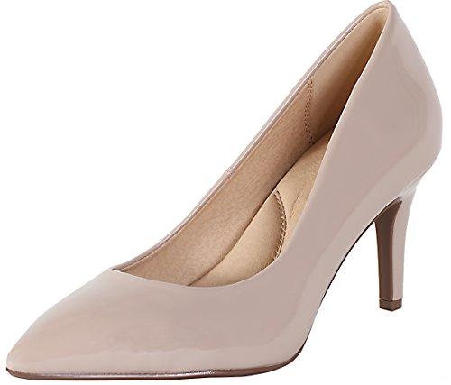 (Cambridge Select Women's Classic Closed Pointed Toe Slip-On Stiletto Mid Heel Pump,7.5 B(M) US,Dark Beige Patent)