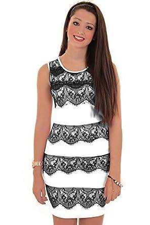 Fantasia Damen Bodycon Kleid Ärmellos Reißverschluss Rücken Spitzen  Kontrast Anliegend: Amazon.de: Bekleidung