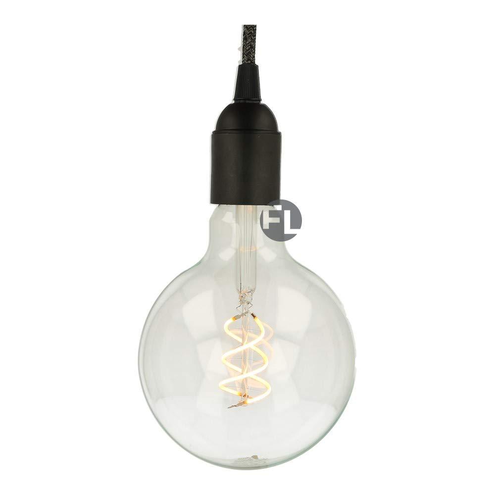 5x Led E27 Glühbirne Spiral Filament clear G125 dimmbar 280 Lumen Leuchtmittel Vintage Edison globo warmweiß für Wohnraum Beleuchtung (5 Stück -10%)