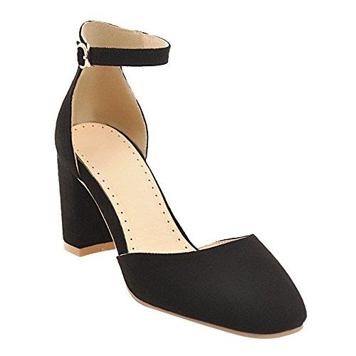 Mee Shoes Women's Charm High Heel Buckle Block Heel Court Shoes Black