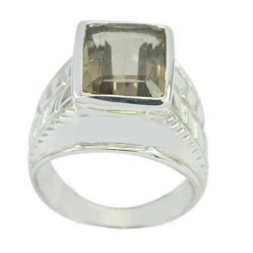 55Carat Genuine Smoky Quartz Men Ring Sterling Silver Square Face Bezel Style Size - Shaped Pear Face Men