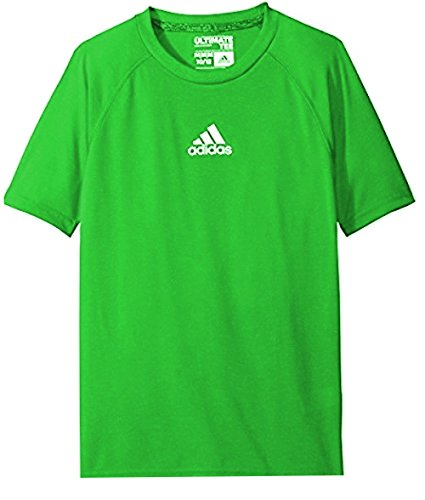 Youth Lime Green T-shirts (Adidas Boys Youth 8-20 Ultimate Tee Climalite Performance Shirt Solar Lime (Size Small 8))