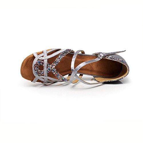 Misu Womens Peep Toe Sandals Latin Salsa Tango Practice Ballroom Dance Shoes With 3.3 Heel Gray arJnV7QS