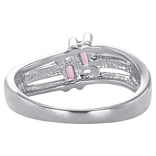 ArtCarved Love Moments Simulated Rose Zircon October Birthstone Ring, Sterling Silver, Size 9 by ArtCarved (Image #5)'
