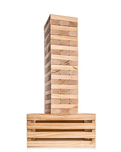 Giant Tower Game | 60 Large Blocks with Storage Crate / Outdoor Game Table | Starts at 32in Big | Stacks up to 5ft During Gameplay | Jumbo Set for Family, Kids, & Adults | by Splinter Woodworking Co. Giant Tumble Tower