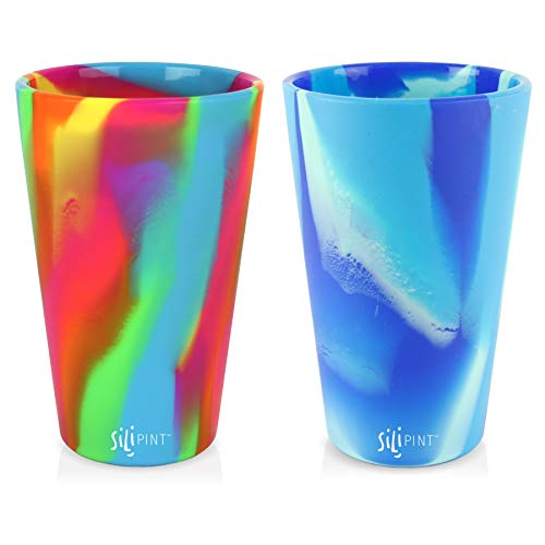 Silipint Silicone Pint Glass Set, Patented, BPA-Free, Shatter-proof, Unbreakable Silicone Cup Drinkware (Hippy Hop & Arctic Sky)