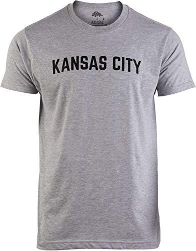 Kansas City | Classic Retro City Grey Style Missouri MO KS River Men Women T-Shirt-(Adult,L)