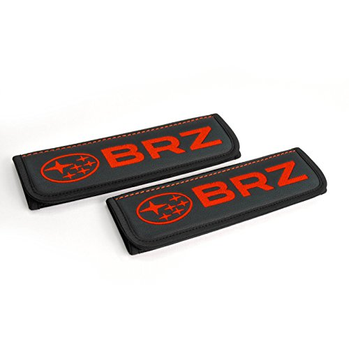 Subaru BRZ seat belt covers pads shoulder for adults Black seatbelt cover pad with red embroidered Subaru BRZ emblem Interior accessories 2 pcs