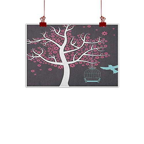 (Decorative Music Urban Graffiti Art Print Tree,Tree with Seafoam Bird Cage and a Bird Flowers for Leaves Nature Freedom, Grey Pink Pale Grey 36