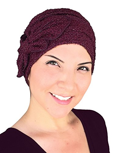 Chemo Winter Hat Soft Fuzzy Eyelash Ribbed Flower Bow Cloche Beanie Cancer Cap Red