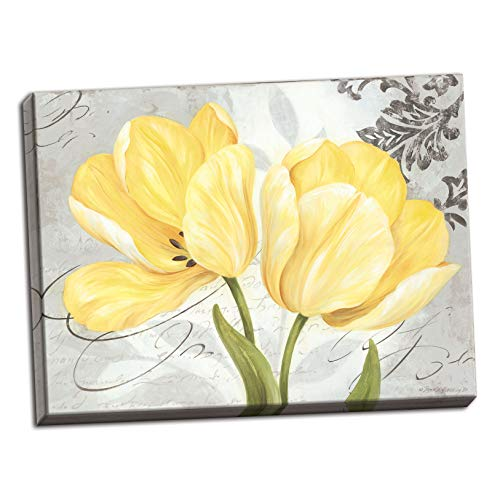 PosterArtNow Beautiful, Vintage Grey & Yellow Flower Print; One 16x12 Stretched Canvas Pieces ()