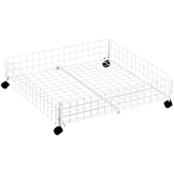 Whitmor Rolling Underbed Cart, White Wire